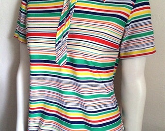 Vintage Women's 70's Blouse, White, Striped, Polyester, Short Sleeve by Lady Arrow (M)