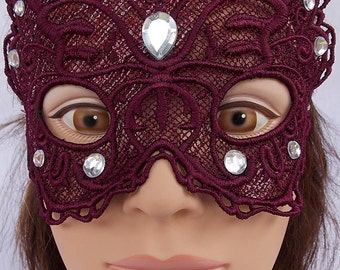 Adult Beautiful Embroidered lace burgandy butterfly mask