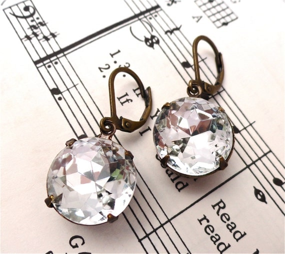 Reserved for ~K~ Vintage Crystal Rhinestone Earrings Retro Round Old Hollywood Estate Jewelry