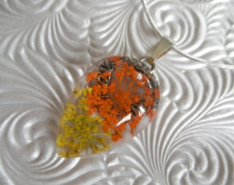 Yellow & Orange Queen Anne's Lace Glass Teardrop Pressed Flower Pendant-Symbolizes Peace-Nature's Wearable Art-Gifts 25 And Under