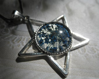 You're A Shining Star-Blue Queen Anne's Lace Atop Sparkling Silver-Star Pendant-Inspired by Earth,Wind & Fire-Symbol Of Peace-Gifts Under 30
