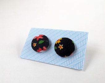 Black Red Yellow and Green Floral Vintage Patterned Fabric Button Stud Earrings 19mm or 15mm
