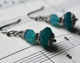 Ombre Earrings Milky Green Beaded Earrings Dark Silver Victorian Style