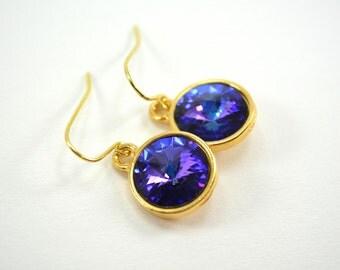 Gold Purple Drop Earrings, Purple Blue Crystal Earrings, Gold Multi Color Dangle Earrings