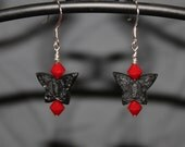 Black Cinnabar Butterfly Earrings