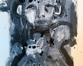 Art Illustration Portrait Black and White Mixed Media  pen and Ink Drawing by Julie Steiner