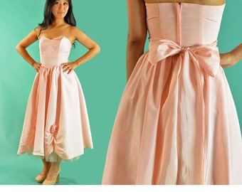 60s Vintage Prom Dress Strapless Full Skirt Party Dress 1960s Pink Taffeta & Tulle Dress Wide Sash Ruched Scalloped Hem Skirt 60s Dress XS