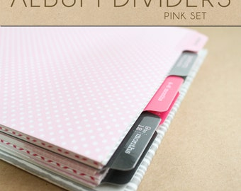 Pink Album Dividers Set  - Include in your Two Giggles Baby Album
