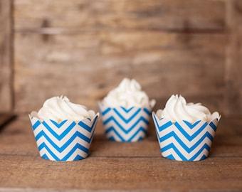 12 Blue Chevron Cupcake Wrappers - Aqua Blue Cupcake Wrappers - Chevron Cupcakes - Great for Birthday Parties, Baby Showers & Bridal Showers