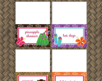 Hawaiian Luau Birthday Party - FOOD LABELS - Printable Hawaiian Decorations - Printable Food Tents - DIY Luau Birthday Party