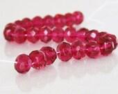 7mm Gemstone-Cut Fuchsia Czech Glass Beads 25