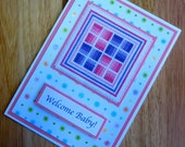 Welcome Baby Girl Cross Stitch Handmade Card in Pink and Purple Rail Fences