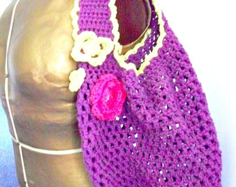 Cotton Crochet Market/Tote Bag, Purple with flowers Women/Teens by AngelAndFairyDesigns on Etsy.com
