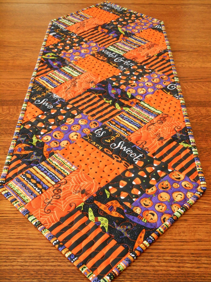 Halloween Quilted Table Runner And Mug Rug Set Witch Hats