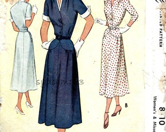 Vintage 1950s Shirtwaist Dress Pattern Cuffed Sleeves Shaped Waist Flared Skirt 1950 McCall 8110 Bust 32
