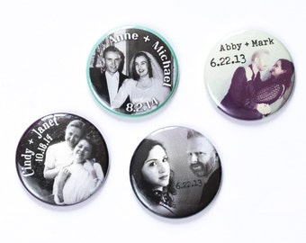 Custom Photo Button, Personalized Pin, Wedding Favor, Customized Badge, Choose a Side, Team Bride, Team Groom, Vintage Photo, Wedding Guest