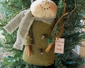 SALE wool coat snowman ornament