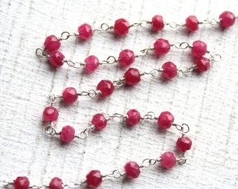10 Feet Faceted Ruby Gemstones and Sterling Silver Wired Chain // Gemstone Beaded Jewelry Chain // Unfinished Chain // Jewelry Supply