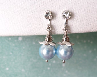 Pearl - Clip-On Simple Pearl Drop Earrings, Gifts, Silver Blue Bridesmaid Earrings, Bridal Jewelry, White Blue Wedding Jewelry, non-pierced