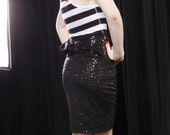 High Waisted Sequin Wiggle Pencil Skirt
