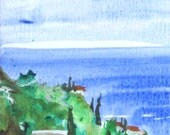 """Italian Village Landscape Art, Sea, Blue Water, Countryside, Green Art -Giclee Print of Fine Art Watercolor Painting- """"City By The Sea"""""""