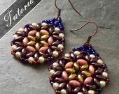 Bead Pattern, Bead Weaving Tutorial, Lotus Super Duo Earrings Pattern,  Intermediate Step by Step with Detailed Diagrams