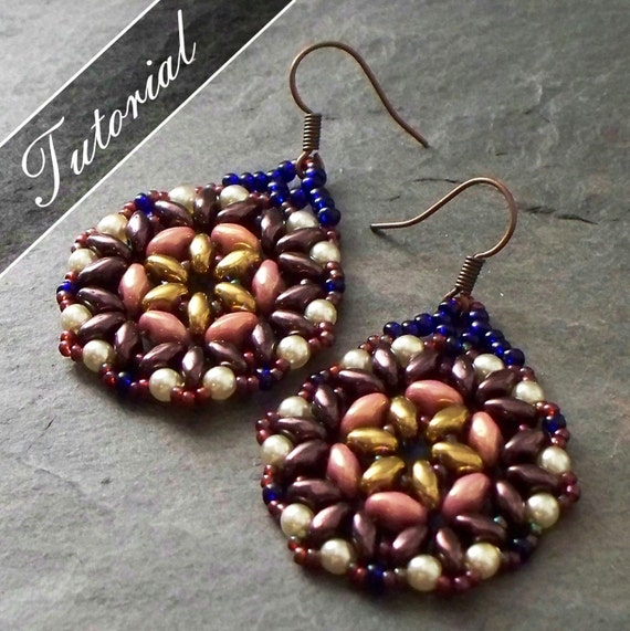 41a94843429223 Bead Pattern Bead Weaving Tutorial Lotus Super Duo Earrings