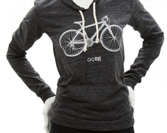 Bicycle| Soft Lightweight classic pullover hoodie| Infinite MPG| Bike| organic cotton blend| Cyclist| Gift for her.