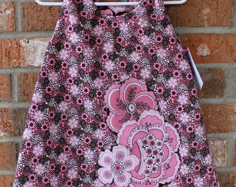 Pink and Brown Floral Toddler Baby Reversible Girl's Dress Sized 12 Months Ready to Ship