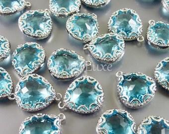 2 silver scallop frame pendant with aquamarine glass stones 5045R-AQ