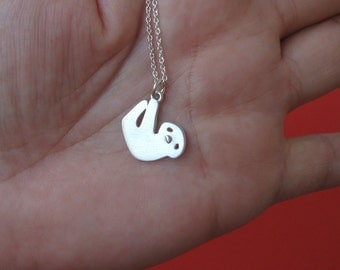 Sleepy Sloth Necklace sterling silver Tree sloth Necklace Baby Sloth Necklace Kid Necklace Teen Necklace Sloth Jewelry Sloth Birthday gift