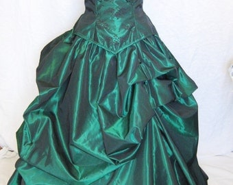 Green bridal gown-bustle gown-wedding dress-custom made-Denver wedding dress-couture-corset gown-gothic-blue wedding dress-steampunk-fairy