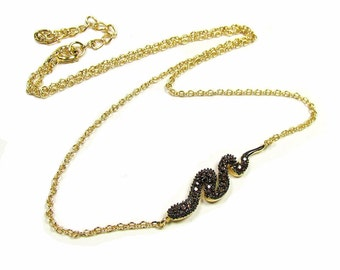 Sideways Snake Necklace-- Chocolate Rhodium and Gold Vermeil with Cubic Zirconias