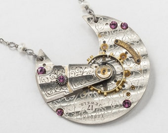 Vintage Waltham Pocket Watch Necklace with Gears, Ruby Jewels, Pearl & Amethyst Purple Crystal Pendant on Silver Chain Steampunk Jewelry