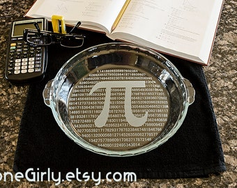 PI Please Pie Plate 3.14 - Laser Engraved with Either a Regular or Deep Dish Pie Plate