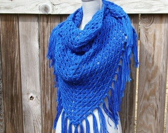 Triangle Scarf, Crochet Shawl in Royal Blue Hand Crocheted
