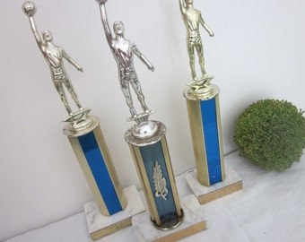 vintage lot 3 Basketball Trophies Instant Collection. Figural, marble bases. Blue, gold, silver, white. Rustic distressed Office Man Cave