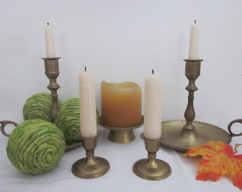 5 piece vintage Brass Candle Holders lot, Instant collection. Eclectic Boho mix & match styles. Shabby, urban, romantic cottage decor.