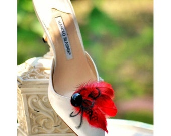 Shoe Clips Red Black. Green Ivory Royal Blue Purple Orange Yellow Couture. Mixed Feathers Accessory, Chic Stylish Glamour Diva, Bridal Bride