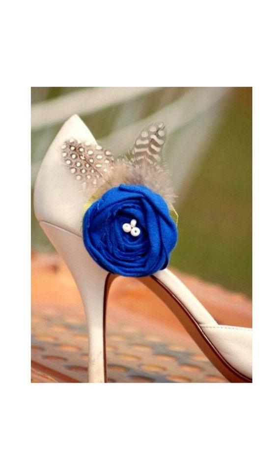 Shoe Clips Royal Blue Embellishment. Mediterranean Cobalt Sodalite Azure Green Ivory / White beads, Winter Couture Bride Bridal Bridesmaids