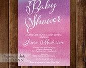 Watercolor Baby Shower Invitation, Watercolor Invite, Watercolor Invitation, Ombre Invitation, Magenta, Shower Invitation, DIY Printable