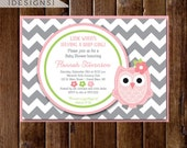Gray Chevron Owl Baby Shower Invitation, Baby Girl Owl Invite, Owl Invitation, Owl Baby Shower Invitation, Owl Baby Shower Invite, Pink Owl