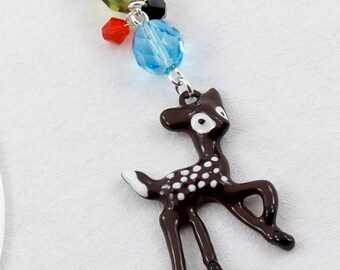 Beaded Bookmark Brown Fawn Charm, Deer Bookmark Animal Bookmark Fairy Tale Party Favor Book Charms Gifts for Book Club Stocking Stuffer idea