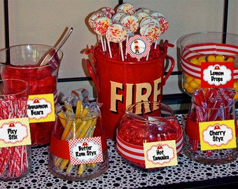 Fireman Helmet Candy Table Buffet Label Party Printable - Stick to Your Story