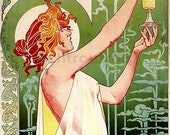 antique french art nouveau advertisement poster absinthe illustration digital download