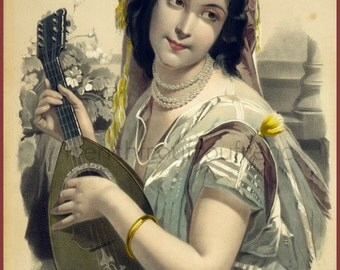 antique french victorian beautiful woman music lithograph Dolorida DIGITAL DOWNLOAD