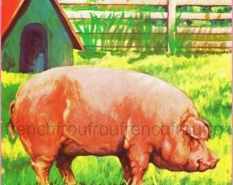 vintage illustration pig at the farm DIGITAL DOWNLOAD