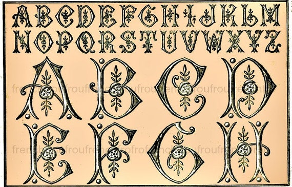 antique french art deco alphabet monogram roses illustration embroidery pattern digital download