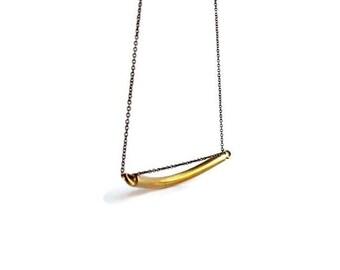 Gold Bar Necklace,  Vintage Brass Geometric Jewelry