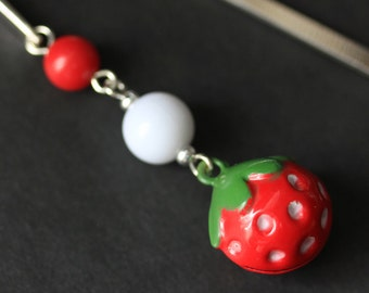 Strawberry Bookmark. Beaded Bookmark. Strawberry Bell Book Charm. Book Hook Bookmark. Handmade Bookmark.
